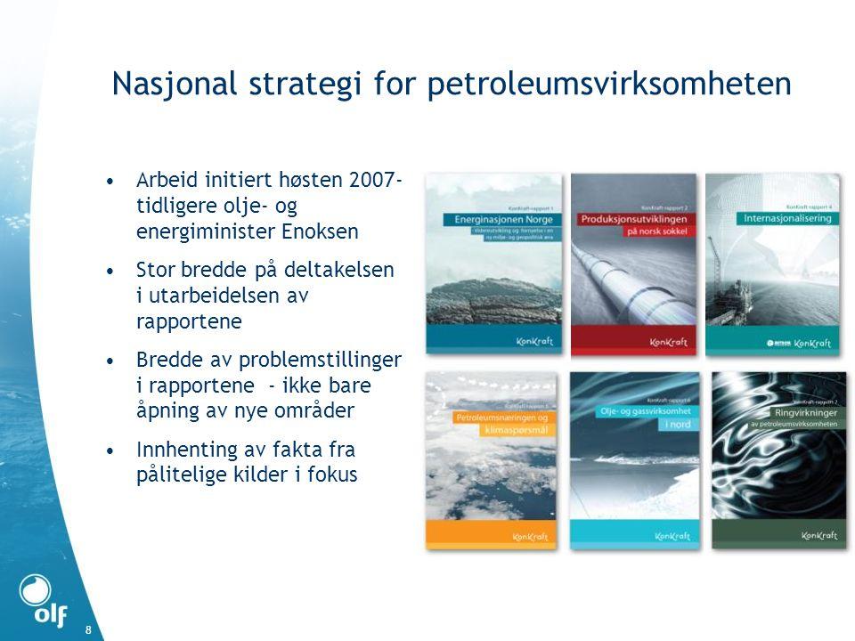 8 Nasjonal strategi for petroleumsvirksomheten •Arbeid initiert høsten 2007- tidligere olje- og energiminister Enoksen •Stor bredde på deltakelsen i utarbeidelsen av rapportene •Bredde av problemstillinger i rapportene - ikke bare åpning av nye områder •Innhenting av fakta fra pålitelige kilder i fokus
