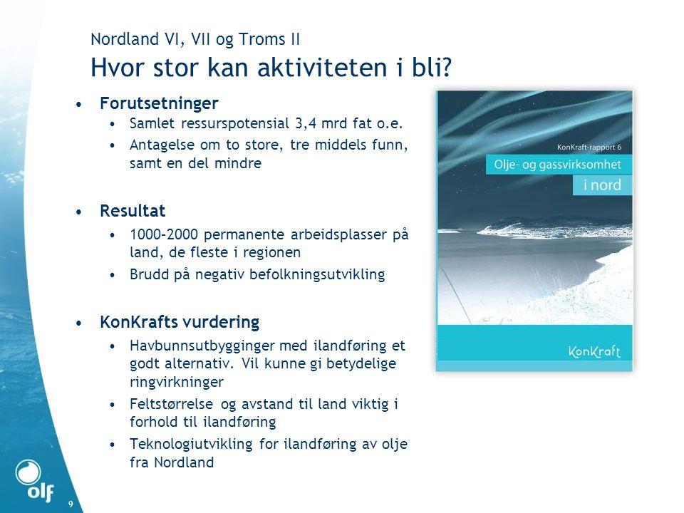 9 Nordland VI, VII og Troms II Hvor stor kan aktiviteten i bli? •Forutsetninger •Samlet ressurspotensial 3,4 mrd fat o.e. •Antagelse om to store, tre