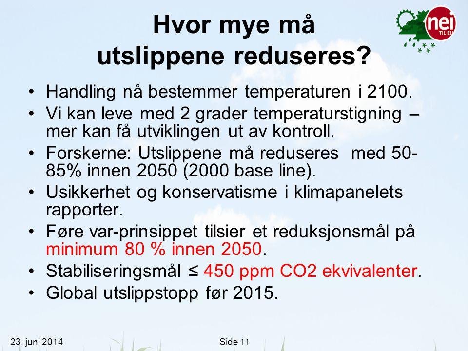 23. juni 2014Side 11 Hvor mye må utslippene reduseres? •Handling nå bestemmer temperaturen i 2100. •Vi kan leve med 2 grader temperaturstigning – mer