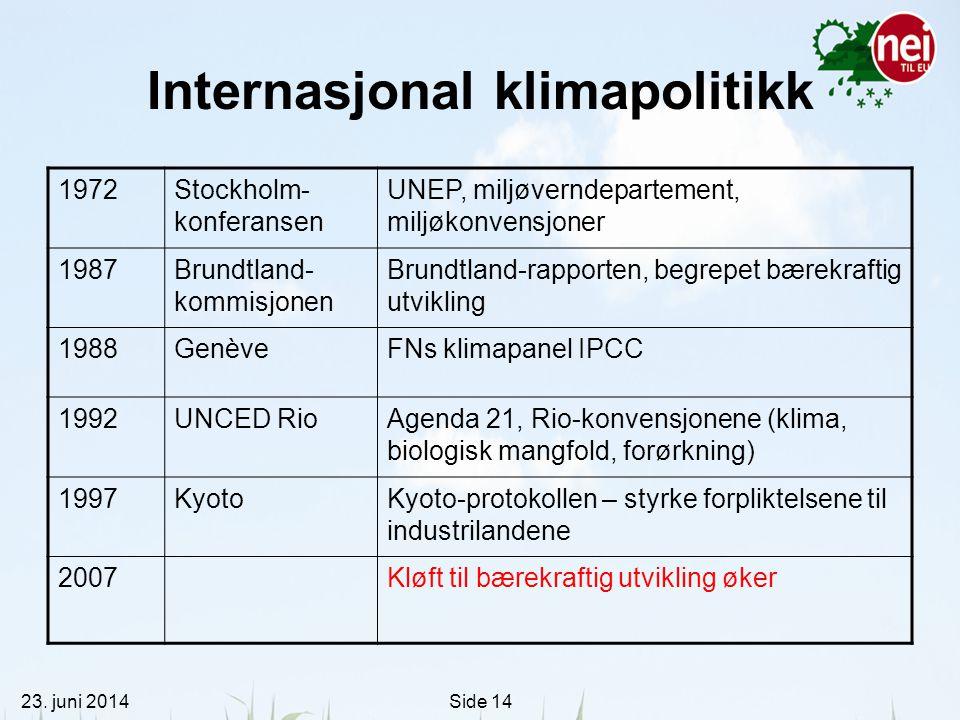 23. juni 2014Side 14 Internasjonal klimapolitikk 1972Stockholm- konferansen UNEP, miljøverndepartement, miljøkonvensjoner 1987Brundtland- kommisjonen