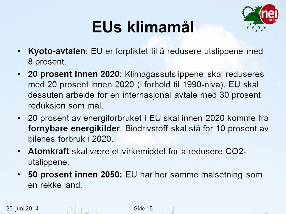 23. juni 2014Side 15 EUs klimamål •Kyoto-avtalen: EU er forpliktet til å redusere utslippene med 8 prosent. •20 prosent innen 2020: Klimagassutslippen