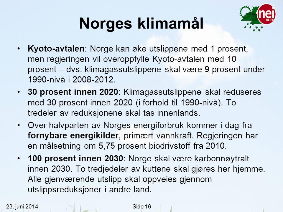 23. juni 2014Side 16 Norges klimamål •Kyoto-avtalen: Norge kan øke utslippene med 1 prosent, men regjeringen vil overoppfylle Kyoto-avtalen med 10 pro
