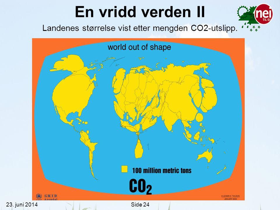 23. juni 2014Side 24 En vridd verden II Landenes størrelse vist etter mengden CO2-utslipp.