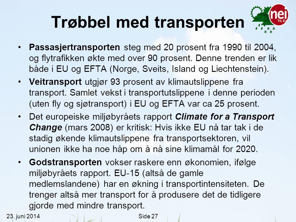 23. juni 2014Side 27 Trøbbel med transporten •Passasjertransporten steg med 20 prosent fra 1990 til 2004, og flytrafikken økte med over 90 prosent. De