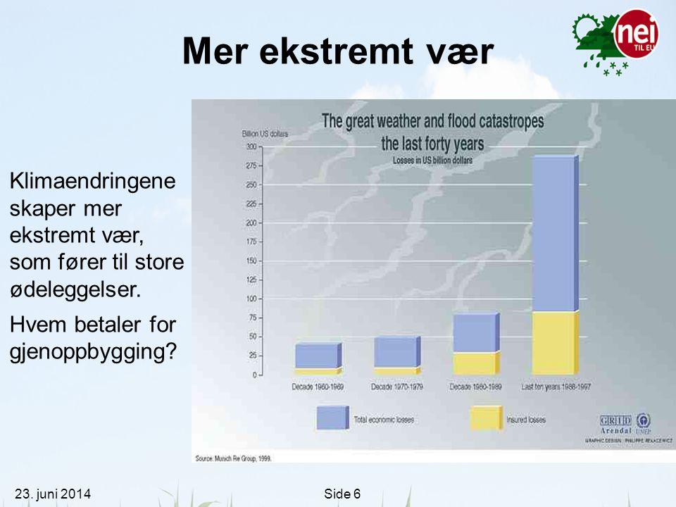 23. juni 2014Side 6 Mer ekstremt vær Klimaendringene skaper mer ekstremt vær, som fører til store ødeleggelser. Hvem betaler for gjenoppbygging?