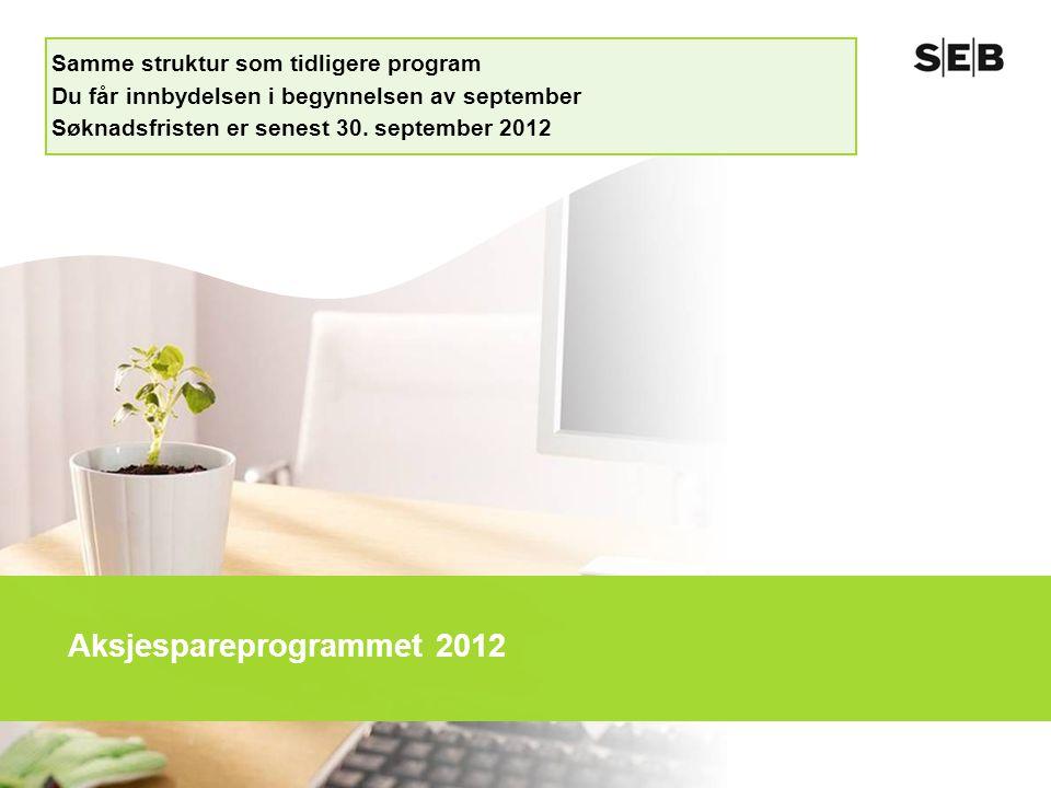 Aksjespareprogrammet 2012 Samme struktur som tidligere program Du får innbydelsen i begynnelsen av september Søknadsfristen er senest 30. september 20
