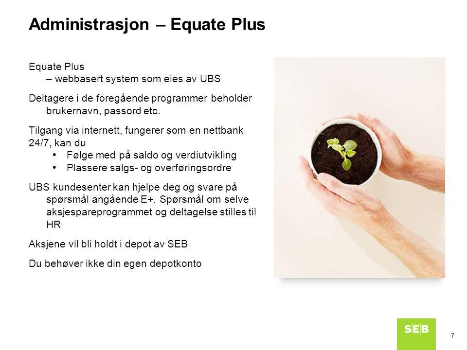 7 Equate Plus – webbasert system som eies av UBS Deltagere i de foregående programmer beholder brukernavn, passord etc. Tilgang via internett, fungere