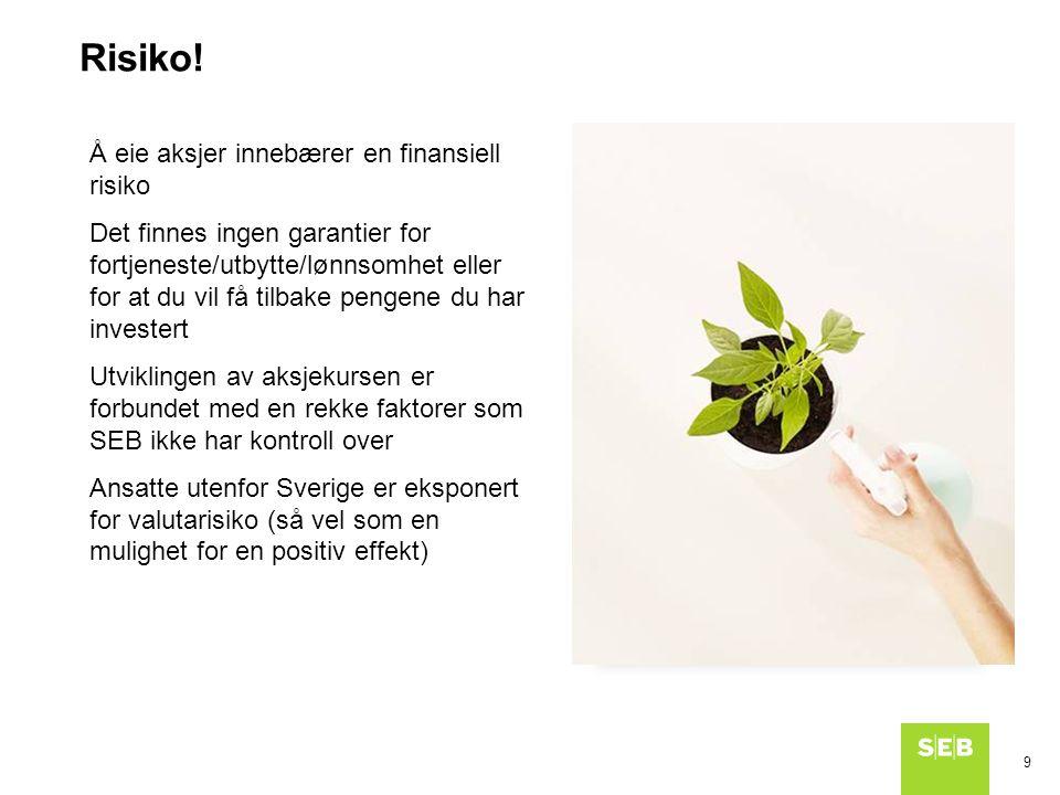 9 Risiko! Å eie aksjer innebærer en finansiell risiko Det finnes ingen garantier for fortjeneste/utbytte/lønnsomhet eller for at du vil få tilbake pen