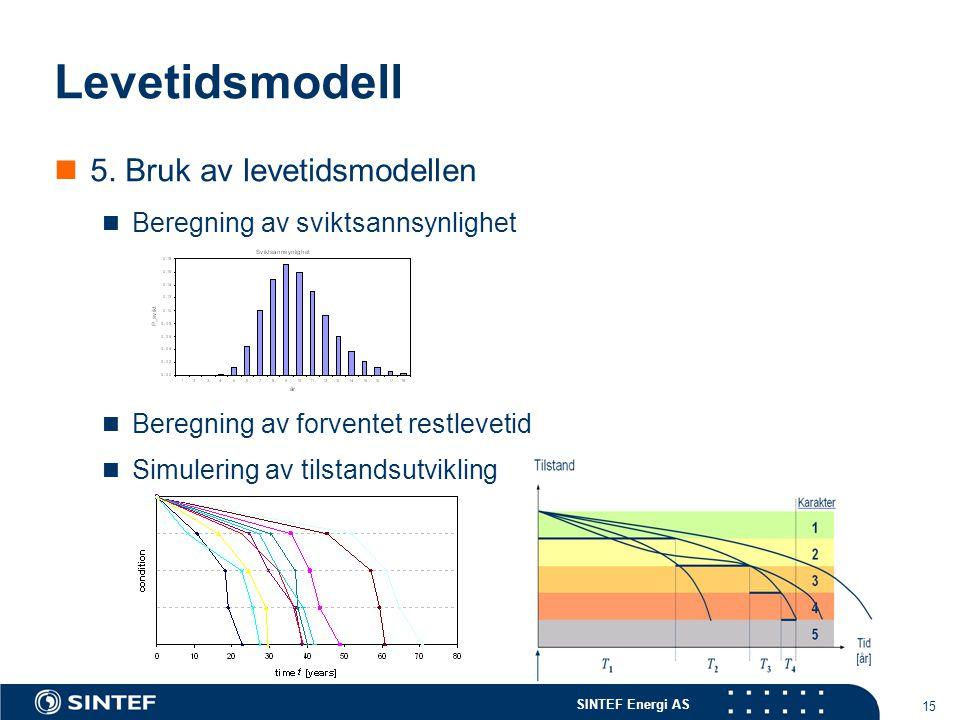 SINTEF Energi AS 15 Levetidsmodell  5. Bruk av levetidsmodellen  Beregning av sviktsannsynlighet  Beregning av forventet restlevetid  Simulering a