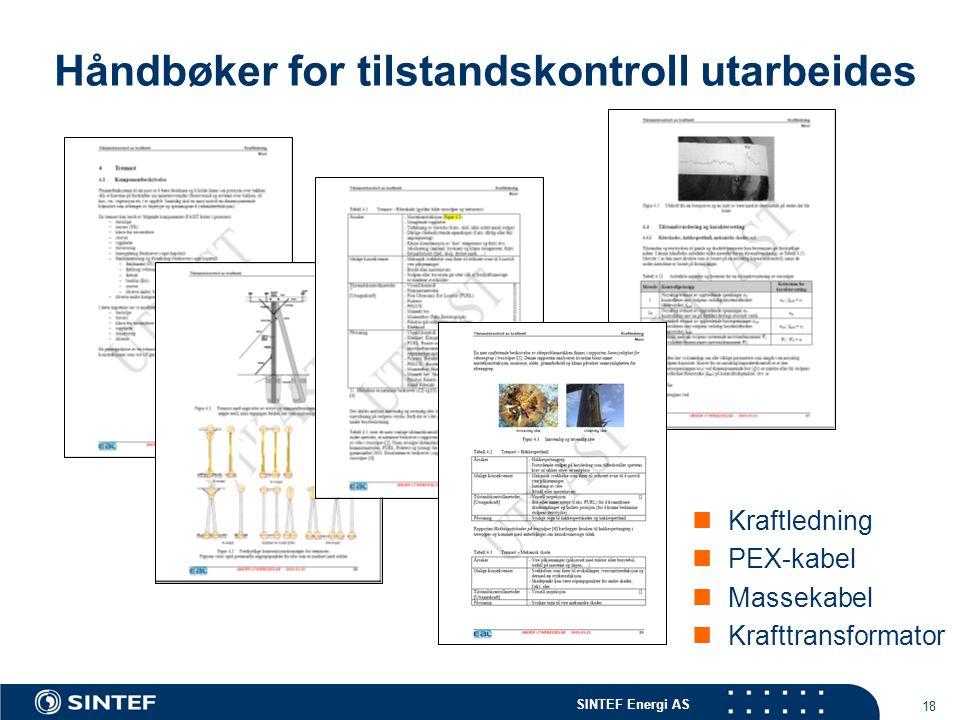 SINTEF Energi AS 18 Håndbøker for tilstandskontroll utarbeides  Kraftledning  PEX-kabel  Massekabel  Krafttransformator