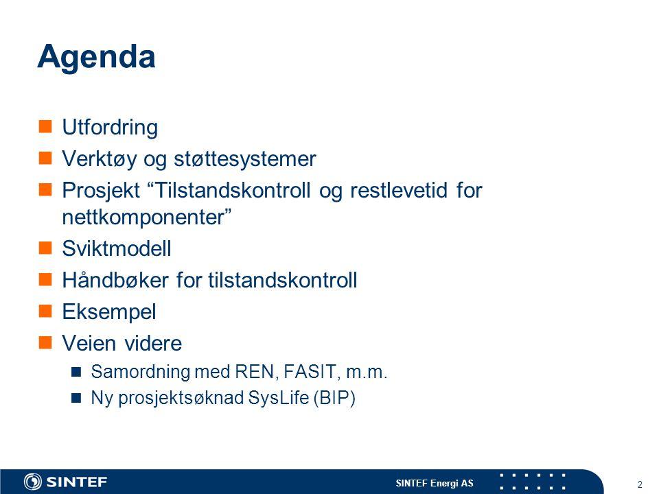 SINTEF Energi AS 2 Agenda  Utfordring  Verktøy og støttesystemer  Prosjekt Tilstandskontroll og restlevetid for nettkomponenter  Sviktmodell  Håndbøker for tilstandskontroll  Eksempel  Veien videre  Samordning med REN, FASIT, m.m.