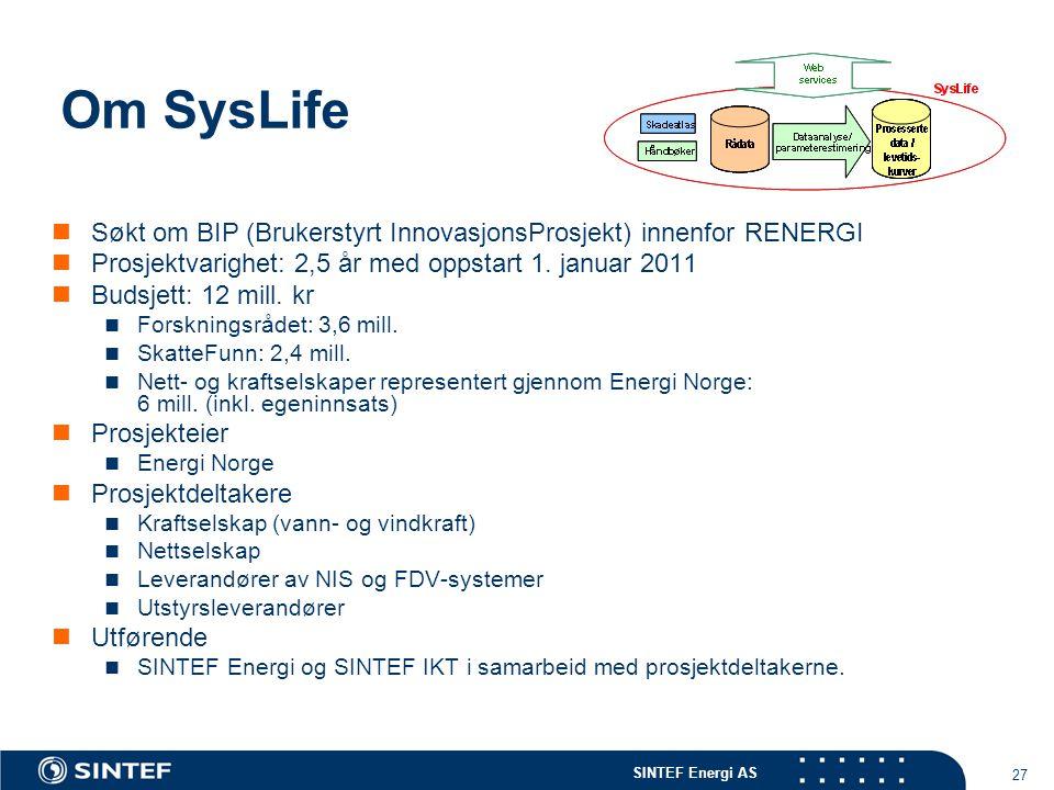 SINTEF Energi AS 27 Om SysLife  Søkt om BIP (Brukerstyrt InnovasjonsProsjekt) innenfor RENERGI  Prosjektvarighet: 2,5 år med oppstart 1. januar 2011