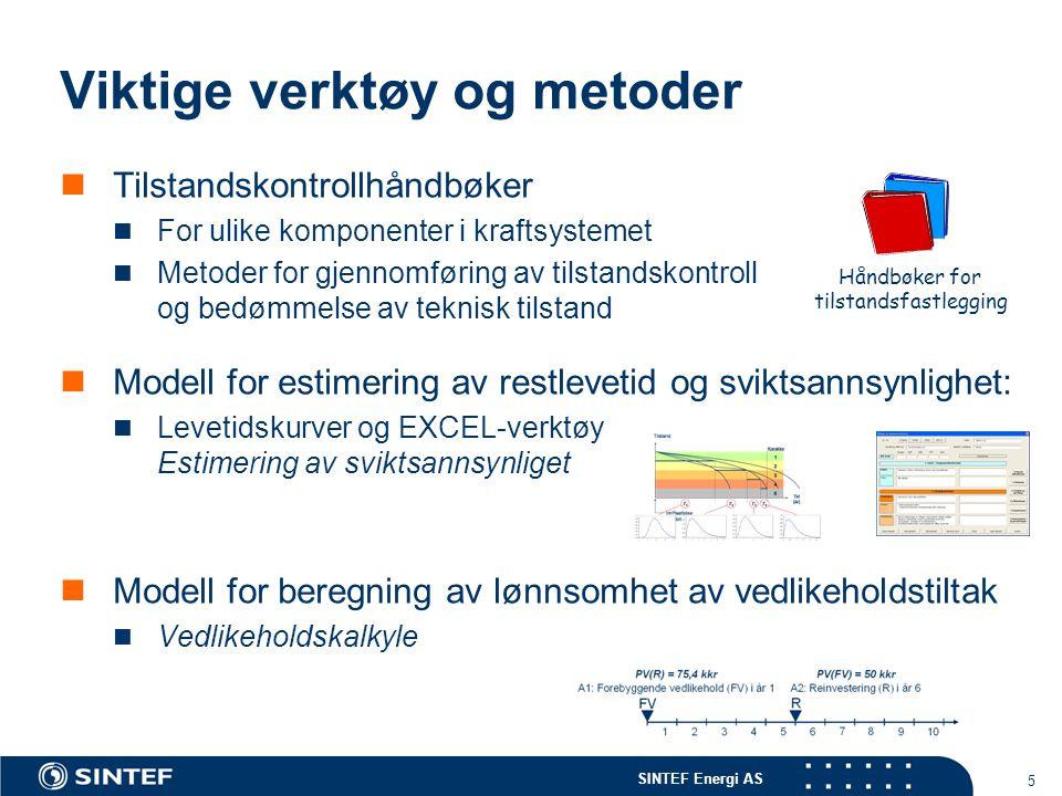SINTEF Energi AS 5 Viktige verktøy og metoder  Tilstandskontrollhåndbøker  For ulike komponenter i kraftsystemet  Metoder for gjennomføring av tils