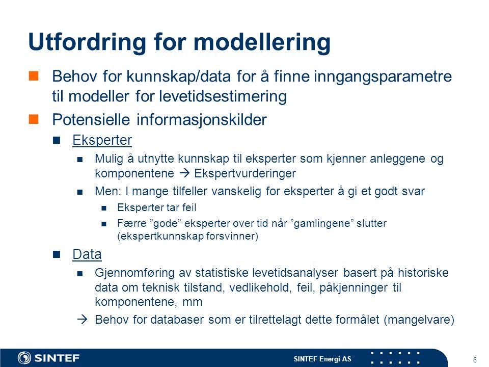 SINTEF Energi AS 6 Utfordring for modellering  Behov for kunnskap/data for å finne inngangsparametre til modeller for levetidsestimering  Potensiell