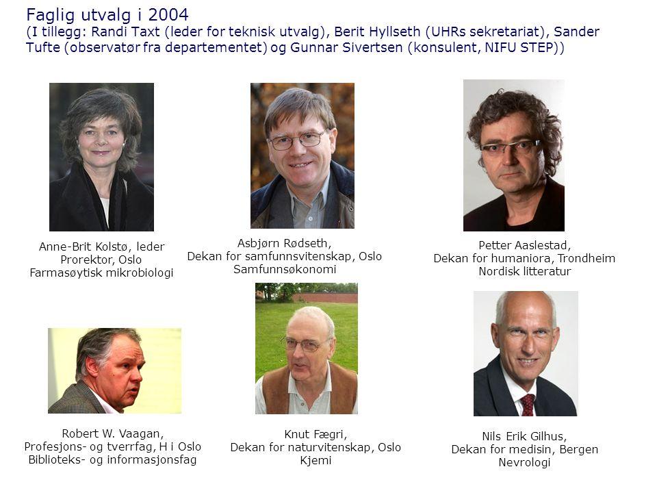 Faglig utvalg i 2004 (I tillegg: Randi Taxt (leder for teknisk utvalg), Berit Hyllseth (UHRs sekretariat), Sander Tufte (observatør fra departementet)