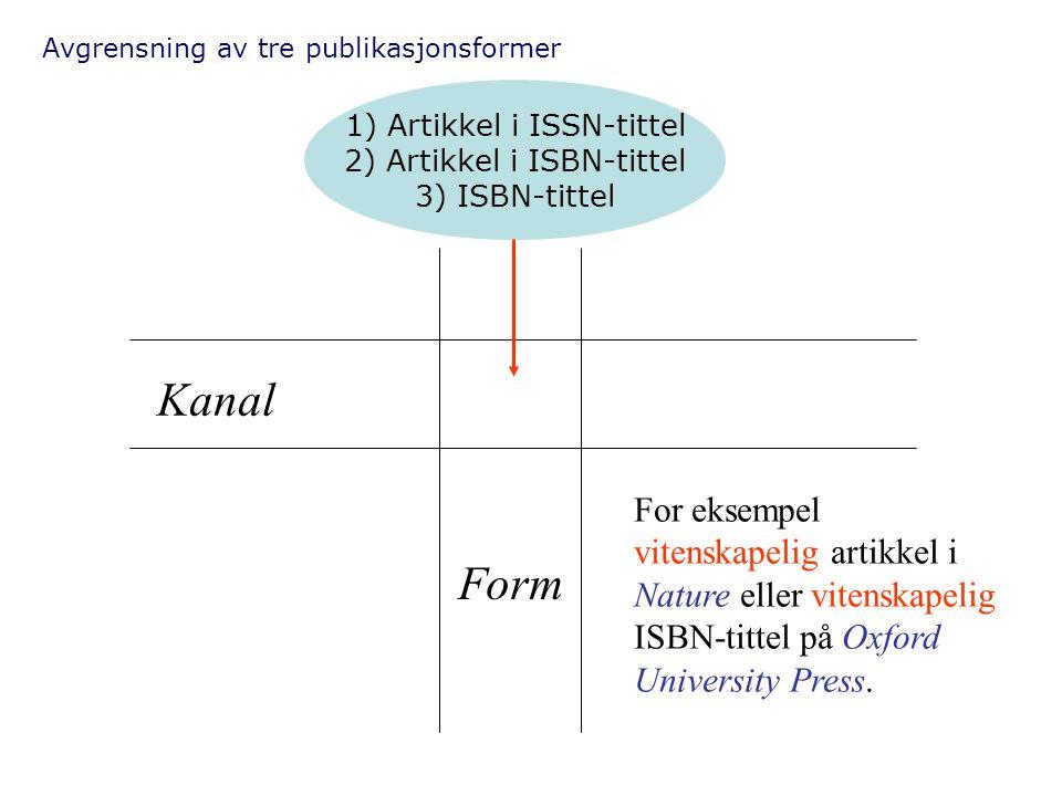 Avgrensning av tre publikasjonsformer Kanal Form For eksempel vitenskapelig artikkel i Nature eller vitenskapelig ISBN-tittel på Oxford University Pre