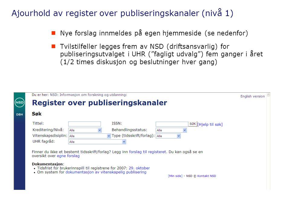 Ajourhold av register over publiseringskanaler (nivå 1)  Nye forslag innmeldes på egen hjemmeside (se nedenfor)  Tvilstilfeller legges frem av NSD (