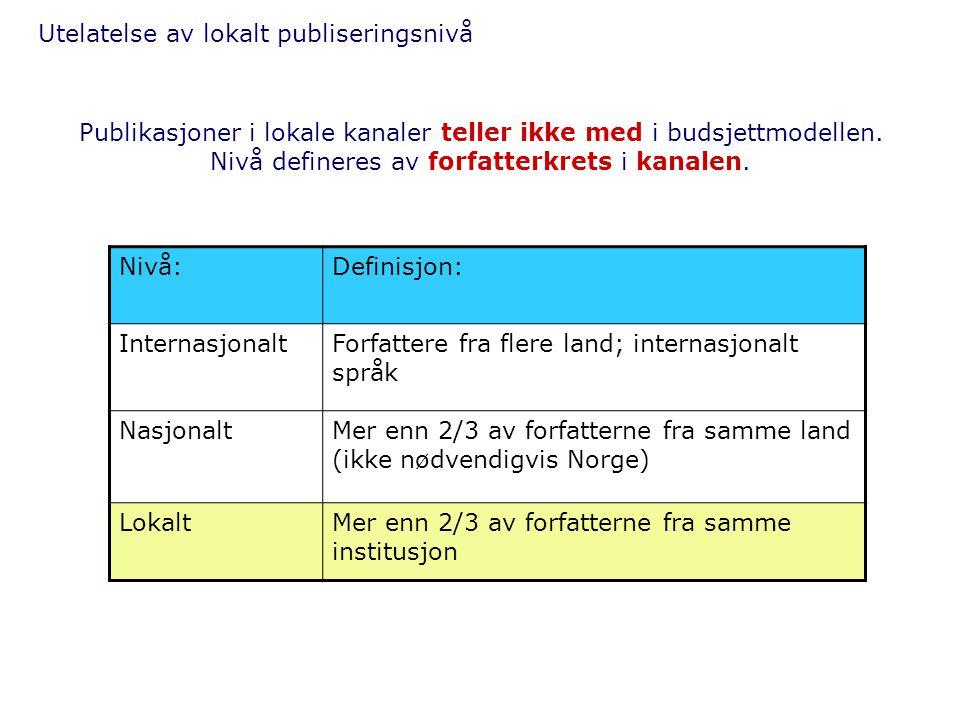 Utelatelse av lokalt publiseringsnivå Nivå:Definisjon: InternasjonaltForfattere fra flere land; internasjonalt språk NasjonaltMer enn 2/3 av forfatter