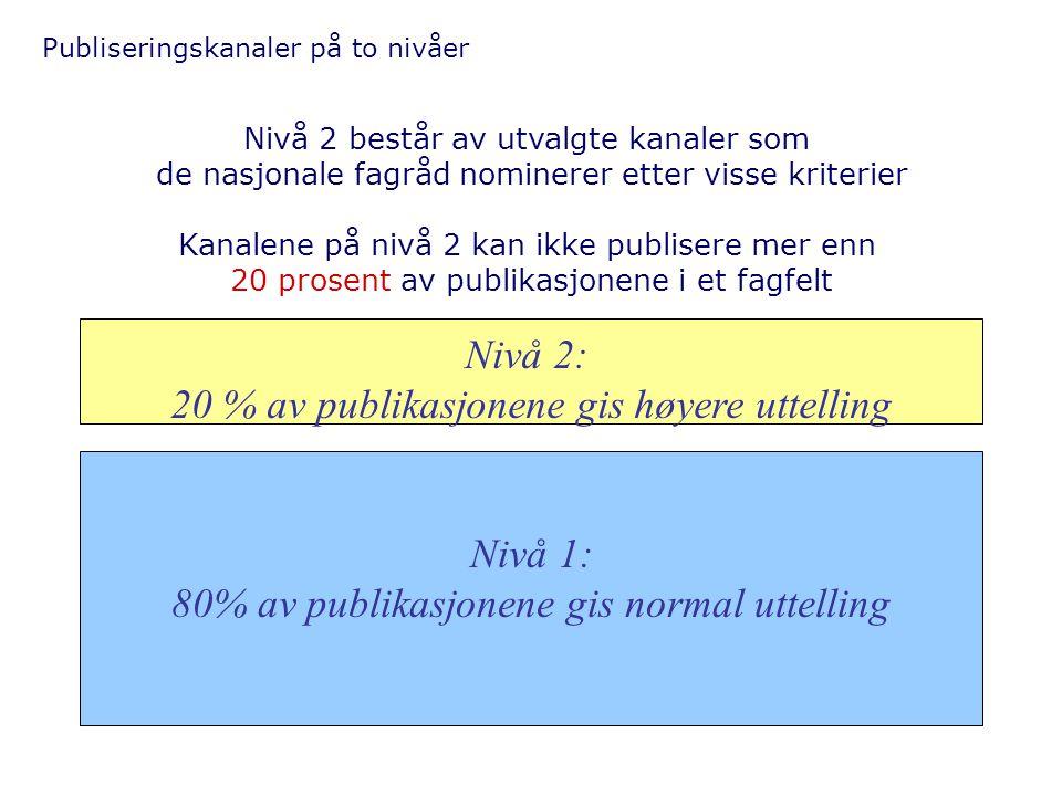 Publiseringskanaler på to nivåer Nivå 2: 20 % av publikasjonene gis høyere uttelling Nivå 1: 80% av publikasjonene gis normal uttelling Nivå 2 består