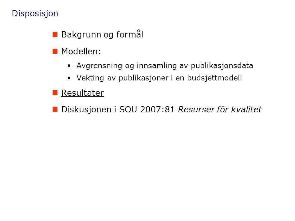 Disposisjon  Bakgrunn og formål  Modellen:  Avgrensning og innsamling av publikasjonsdata  Vekting av publikasjoner i en budsjettmodell  Resultat