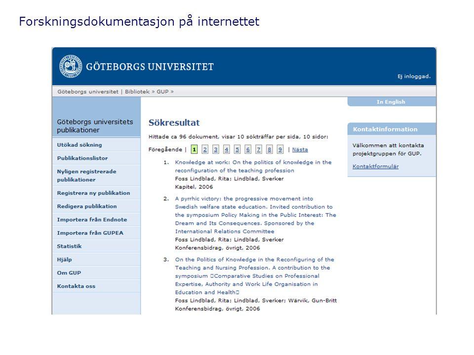 Forskningsdokumentasjon på internettet