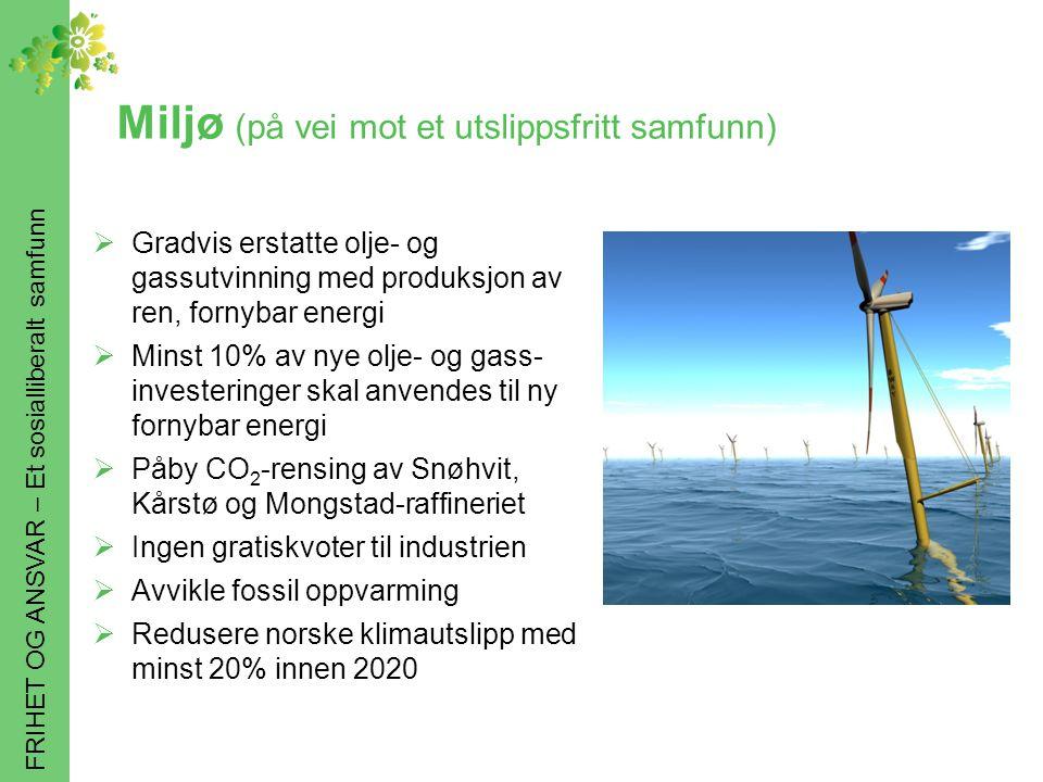 FRIHET OG ANSVAR – Et sosialliberalt samfunn Miljø (på vei mot et utslippsfritt samfunn)  Gradvis erstatte olje- og gassutvinning med produksjon av ren, fornybar energi  Minst 10% av nye olje- og gass- investeringer skal anvendes til ny fornybar energi  Påby CO 2 -rensing av Snøhvit, Kårstø og Mongstad-raffineriet  Ingen gratiskvoter til industrien  Avvikle fossil oppvarming  Redusere norske klimautslipp med minst 20% innen 2020