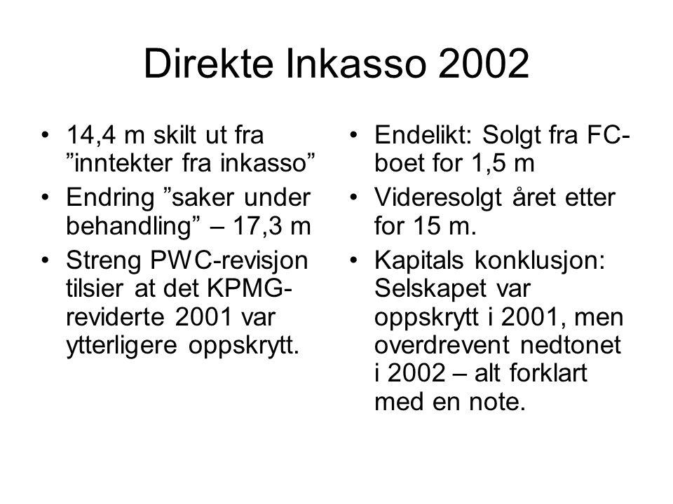 Direkte Inkasso 2002 •14,4 m skilt ut fra inntekter fra inkasso •Endring saker under behandling – 17,3 m •Streng PWC-revisjon tilsier at det KPMG- reviderte 2001 var ytterligere oppskrytt.
