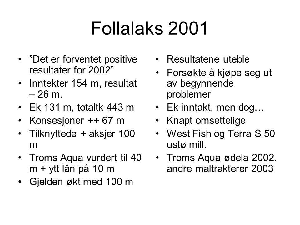 """Follalaks 2001 •""""Det er forventet positive resultater for 2002"""" •Inntekter 154 m, resultat – 26 m. •Ek 131 m, totaltk 443 m •Konsesjoner ++ 67 m •Tilk"""
