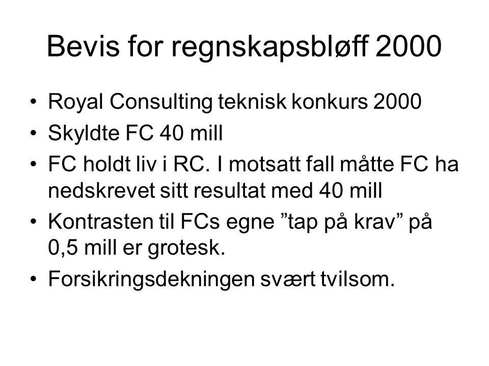 Bevis for regnskapsbløff 2000 •Royal Consulting teknisk konkurs 2000 •Skyldte FC 40 mill •FC holdt liv i RC. I motsatt fall måtte FC ha nedskrevet sit