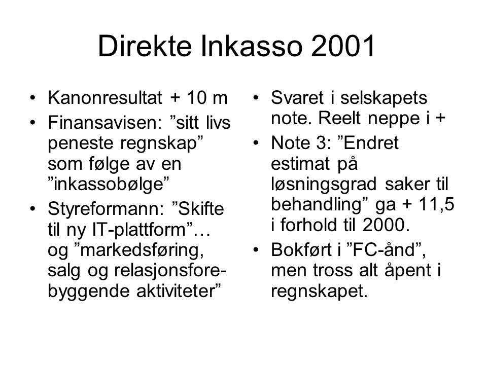 """Direkte Inkasso 2001 •Kanonresultat + 10 m •Finansavisen: """"sitt livs peneste regnskap"""" som følge av en """"inkassobølge"""" •Styreformann: """"Skifte til ny IT"""