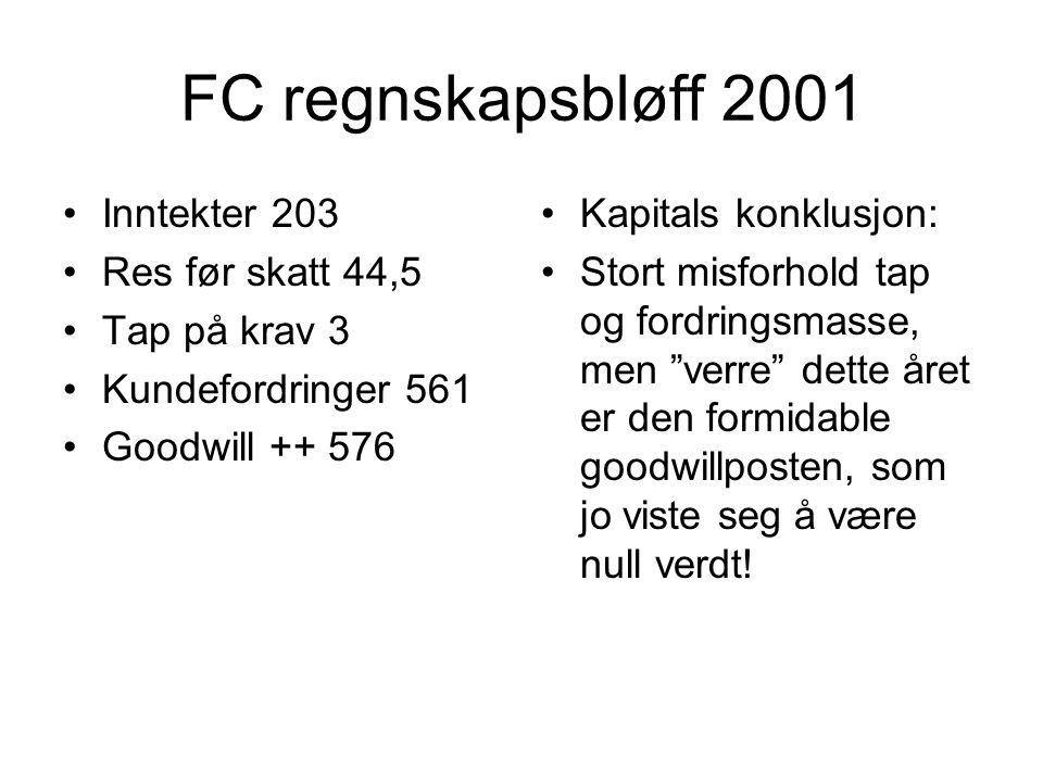 FC regnskapsbløff 2001 •Inntekter 203 •Res før skatt 44,5 •Tap på krav 3 •Kundefordringer 561 •Goodwill ++ 576 •Kapitals konklusjon: •Stort misforhold