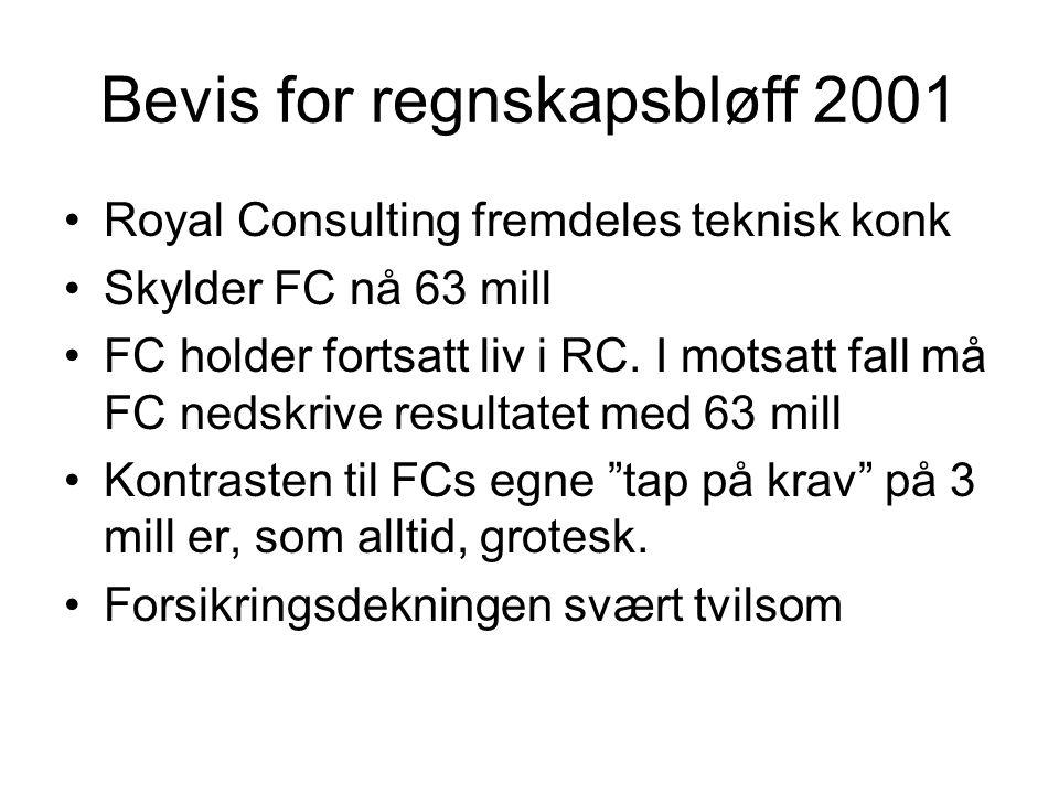 Bevis for regnskapsbløff 2001 •Royal Consulting fremdeles teknisk konk •Skylder FC nå 63 mill •FC holder fortsatt liv i RC. I motsatt fall må FC nedsk