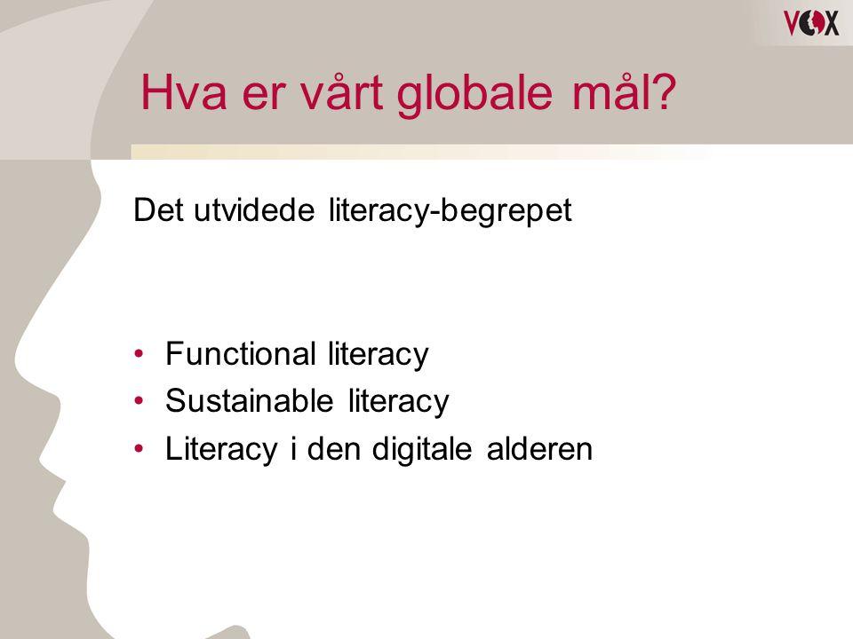 Hva er vårt globale mål? Det utvidede literacy-begrepet •Functional literacy •Sustainable literacy •Literacy i den digitale alderen
