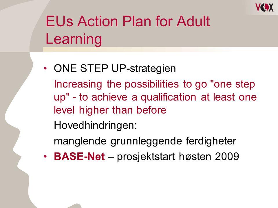 EUs Action Plan for Adult Learning •ONE STEP UP-strategien Increasing the possibilities to go one step up - to achieve a qualification at least one level higher than before Hovedhindringen: manglende grunnleggende ferdigheter •BASE-Net – prosjektstart høsten 2009