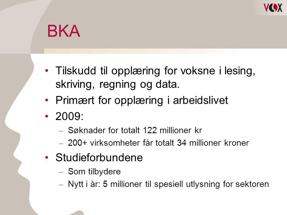 BKA •Tilskudd til opplæring for voksne i lesing, skriving, regning og data. •Primært for opplæring i arbeidslivet •2009: – Søknader for totalt 122 mil
