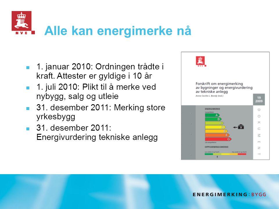Alle kan energimerke nå  1. januar 2010: Ordningen trådte i kraft.