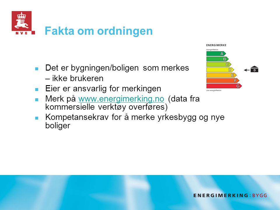 Fakta om ordningen  Det er bygningen/boligen som merkes – ikke brukeren  Eier er ansvarlig for merkingen  Merk på www.energimerking.no (data fra kommersielle verktøy overføres)www.energimerking.no  Kompetansekrav for å merke yrkesbygg og nye boliger