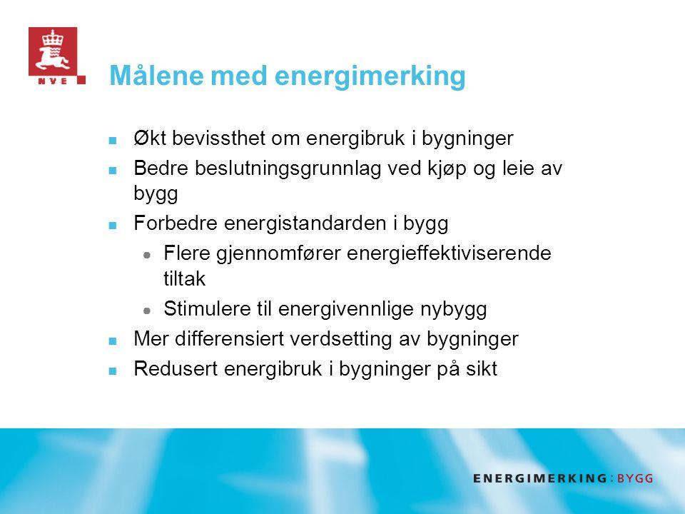 Målene med energimerking  Økt bevissthet om energibruk i bygninger  Bedre beslutningsgrunnlag ved kjøp og leie av bygg  Forbedre energistandarden i bygg ● Flere gjennomfører energieffektiviserende tiltak ● Stimulere til energivennlige nybygg  Mer differensiert verdsetting av bygninger  Redusert energibruk i bygninger på sikt