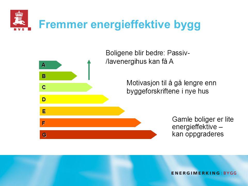 Fremmer energieffektive bygg A B C D E F G Motivasjon til å gå lengre enn byggeforskriftene i nye hus Boligene blir bedre: Passiv- /lavenergihus kan få A Gamle boliger er lite energieffektive – kan oppgraderes
