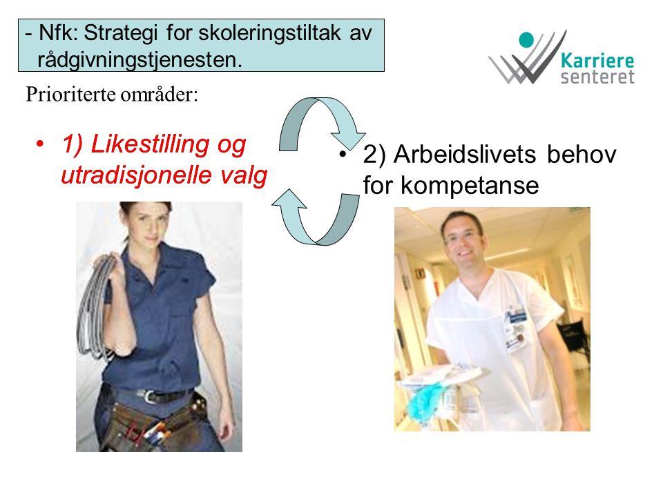 •1) Likestilling og utradisjonelle valg •2) Arbeidslivets behov for kompetanse - Nfk: Strategi for skoleringstiltak av rådgivningstjenesten. •1) Likes