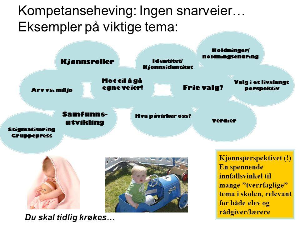 """Kompetanseheving: Ingen snarveier… Eksempler på viktige tema: Du skal tidlig krøkes… Kjønnsperspektivet (!) En spennende innfallsvinkel til mange """"tve"""