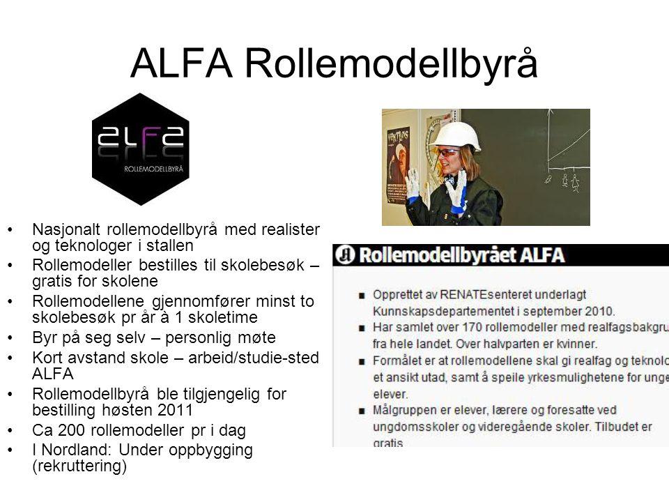 ALFA Rollemodellbyrå •Nasjonalt rollemodellbyrå med realister og teknologer i stallen •Rollemodeller bestilles til skolebesøk – gratis for skolene •Ro