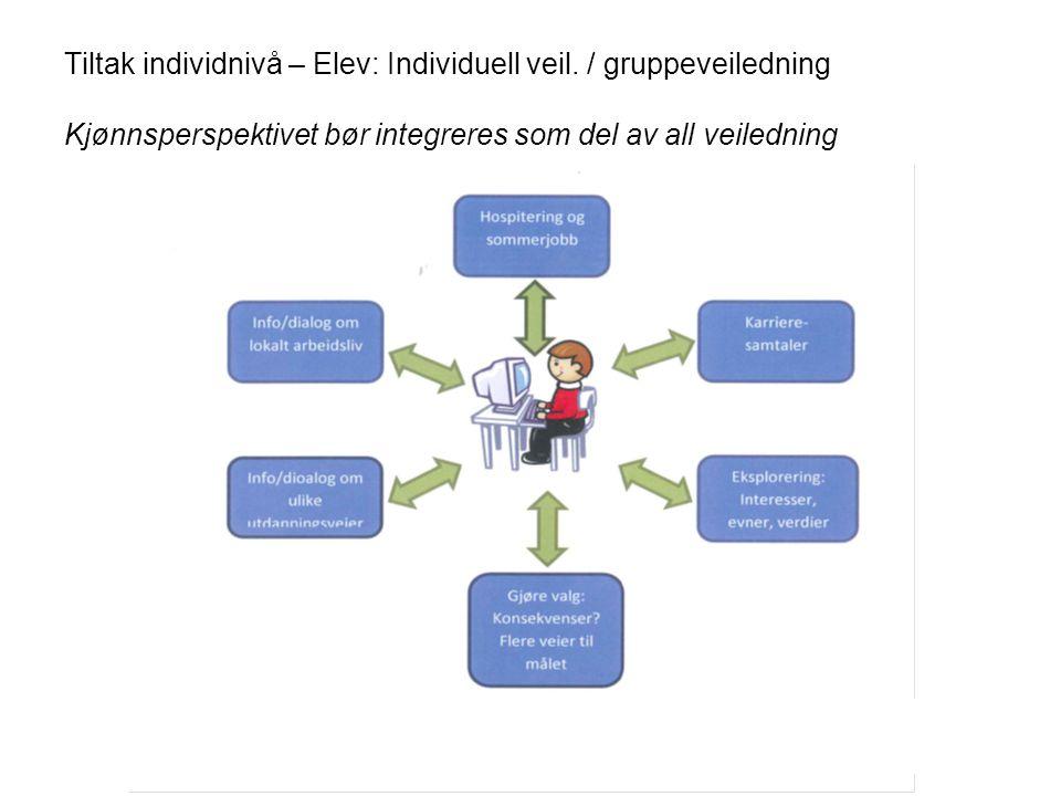 Tiltak individnivå – Elev: Individuell veil. / gruppeveiledning Kjønnsperspektivet bør integreres som del av all veiledning