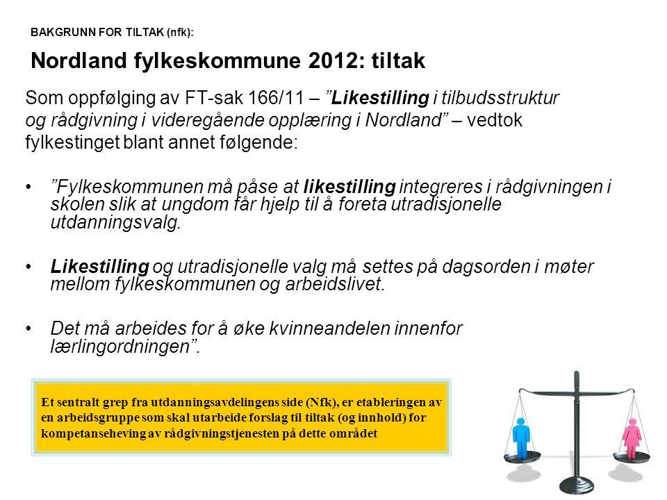 """Som oppfølging av FT-sak 166/11 – """"Likestilling i tilbudsstruktur og rådgivning i videregående opplæring i Nordland"""" – vedtok fylkestinget blant annet"""