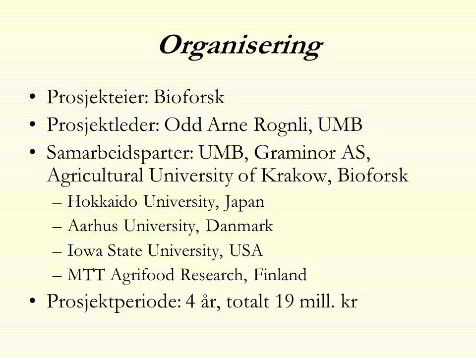 Organisering • •Prosjekteier: Bioforsk • •Prosjektleder: Odd Arne Rognli, UMB • •Samarbeidsparter: UMB, Graminor AS, Agricultural University of Krakow, Bioforsk – –Hokkaido University, Japan – –Aarhus University, Danmark – –Iowa State University, USA – –MTT Agrifood Research, Finland • •Prosjektperiode: 4 år, totalt 19 mill.