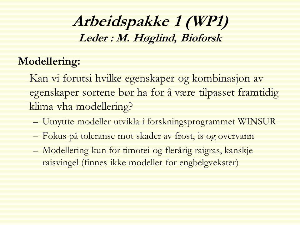 Arbeidspakke 1 (WP1) Leder : M.