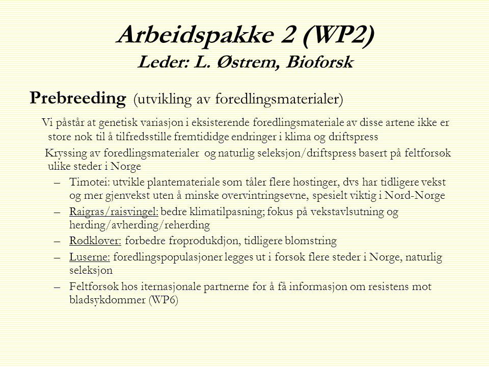 Arbeidspakke 2 (WP2) Leder: L.
