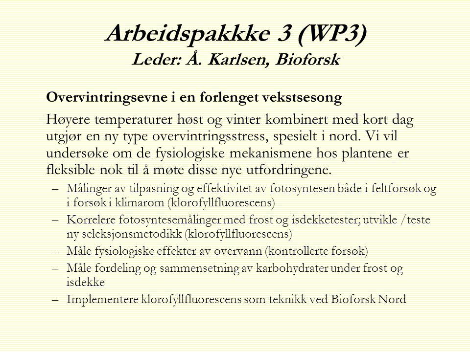 Arbeidspakkke 3 (WP3) Leder: Å.