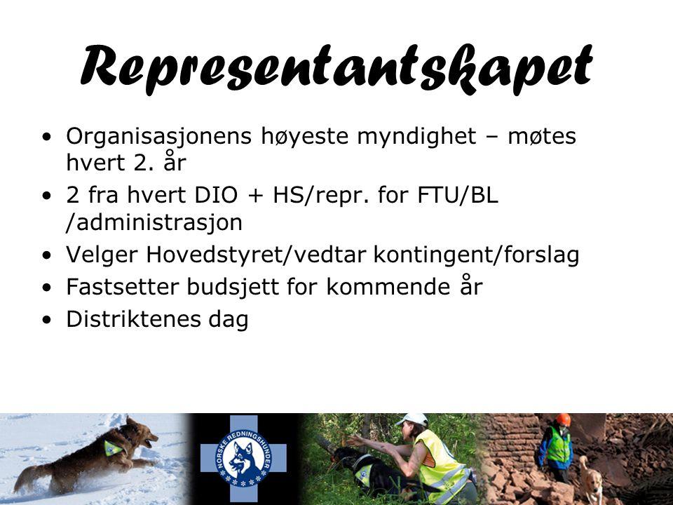 Representantskapet •Organisasjonens høyeste myndighet – møtes hvert 2.