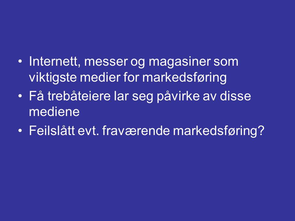 •Internett, messer og magasiner som viktigste medier for markedsføring •Få trebåteiere lar seg påvirke av disse mediene •Feilslått evt. fraværende mar